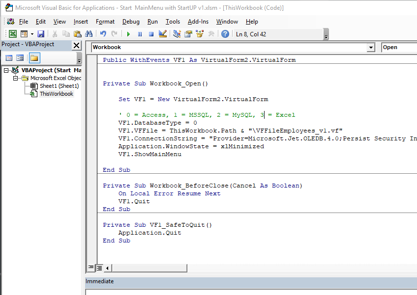 Excel VBA Workbook Module with code - Virtual Forms